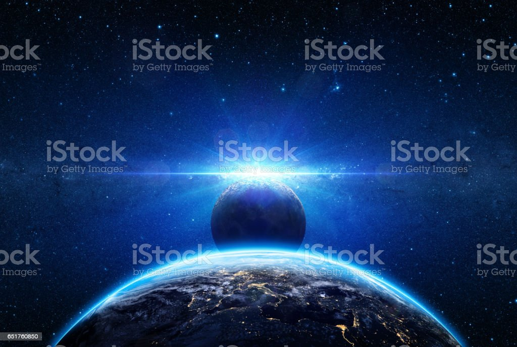 Sunrise And Eclipse On Planet Earth - Europe View vector art illustration