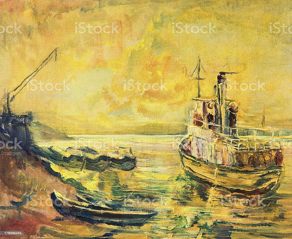 Sunrise on Danube River vector art illustration