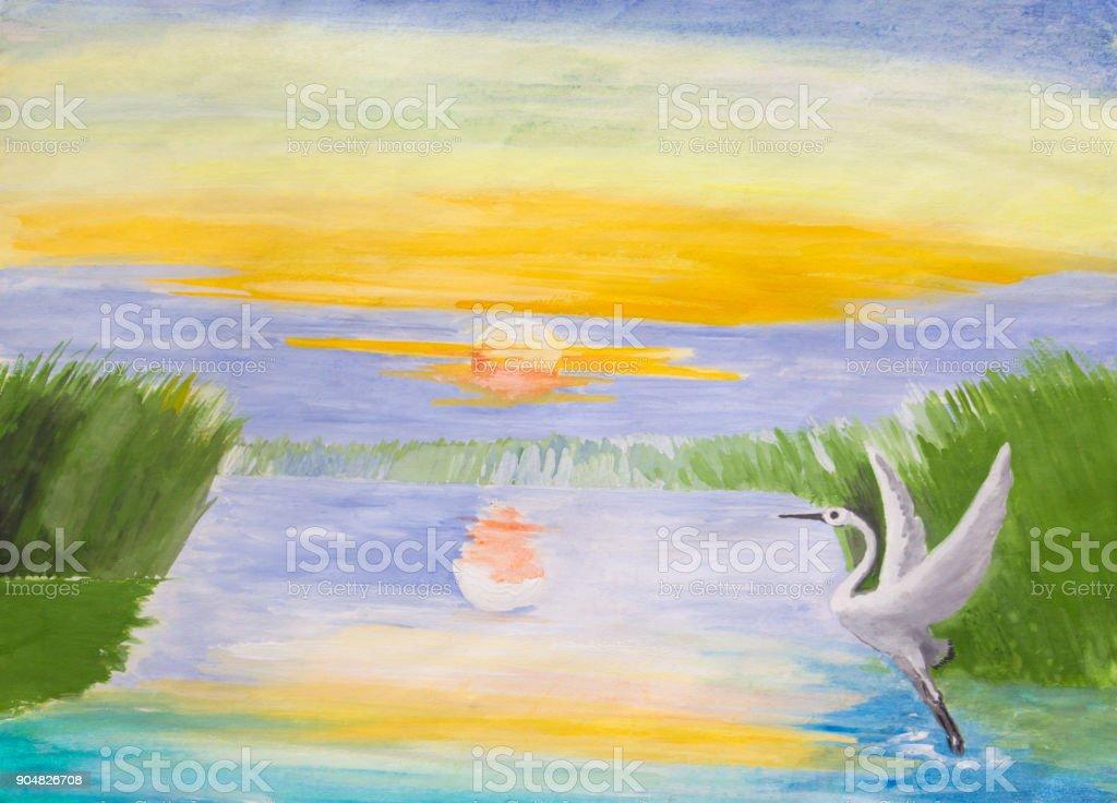 Sunrise on the lake. vector art illustration