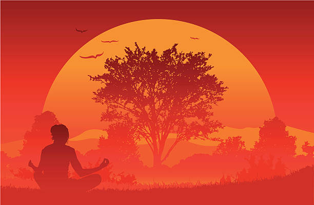 Sunrise Yoga vector art illustration