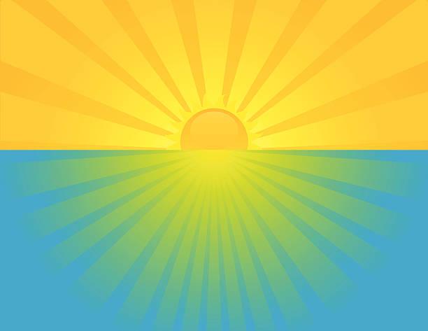 Sunset at sea. vector art illustration
