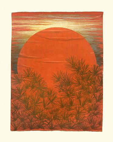 Vintage illustration of Art of Japan, Japanese print, Sunset behind a pine forest