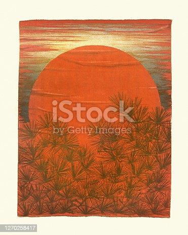 Sunset behind a pine forest, Japanese art print