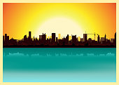 Vector illustration of a city landscape in the summer. Zip contains vector eps and high resolution jpeg files.