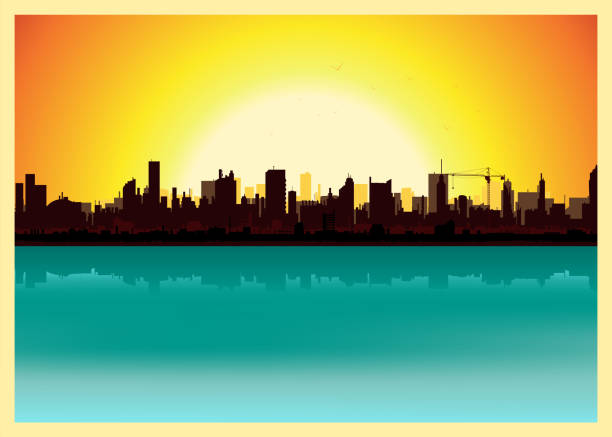 Sunset City Landscape Vector illustration of a city landscape in the summer. Zip contains vector eps and high resolution jpeg files. back lit stock illustrations