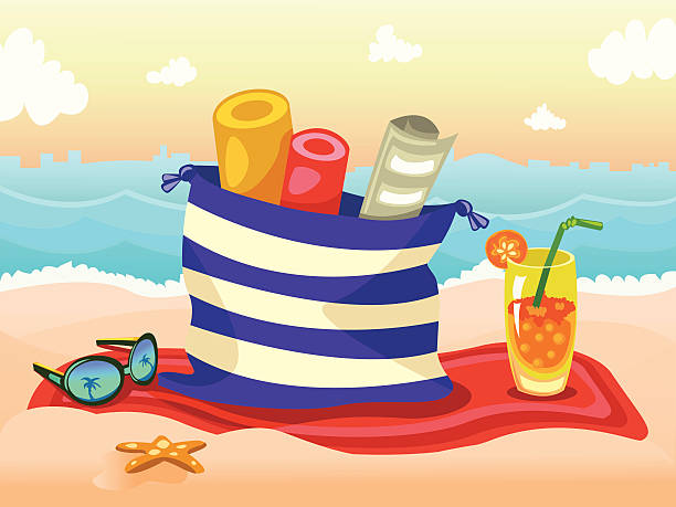 stockillustraties, clipart, cartoons en iconen met sunset - newspaper beach