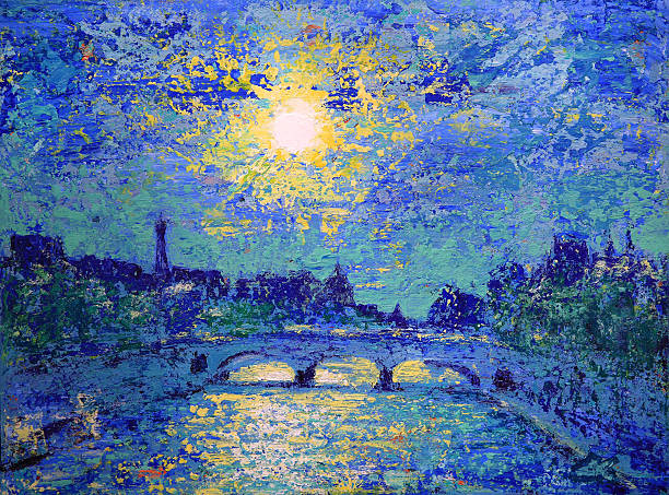 Sunset in Paris, France, painted by acrylic Sunset in Paris, France, painted by acrylic seine river stock illustrations