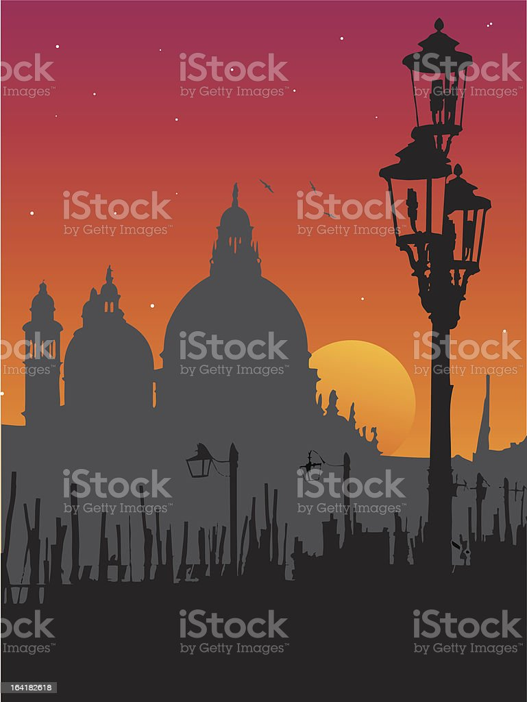 Sunset in Venice vector art illustration