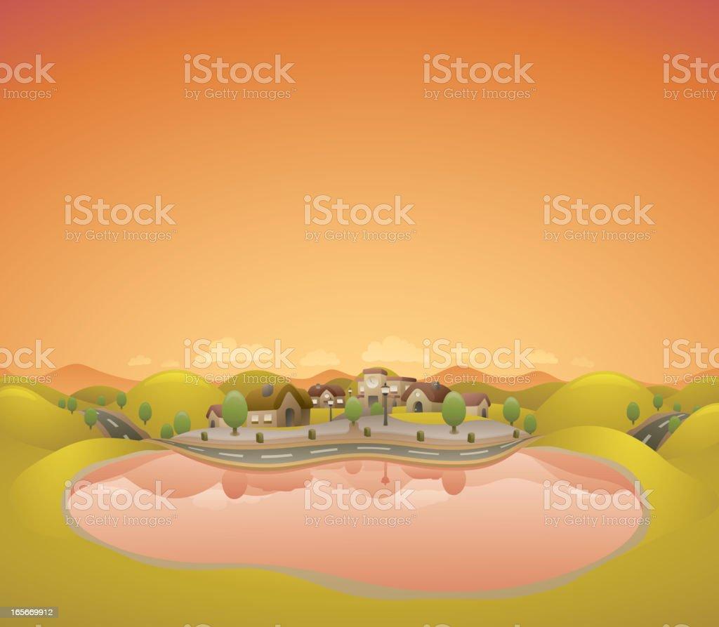 Sunset Lake Landscape royalty-free stock vector art
