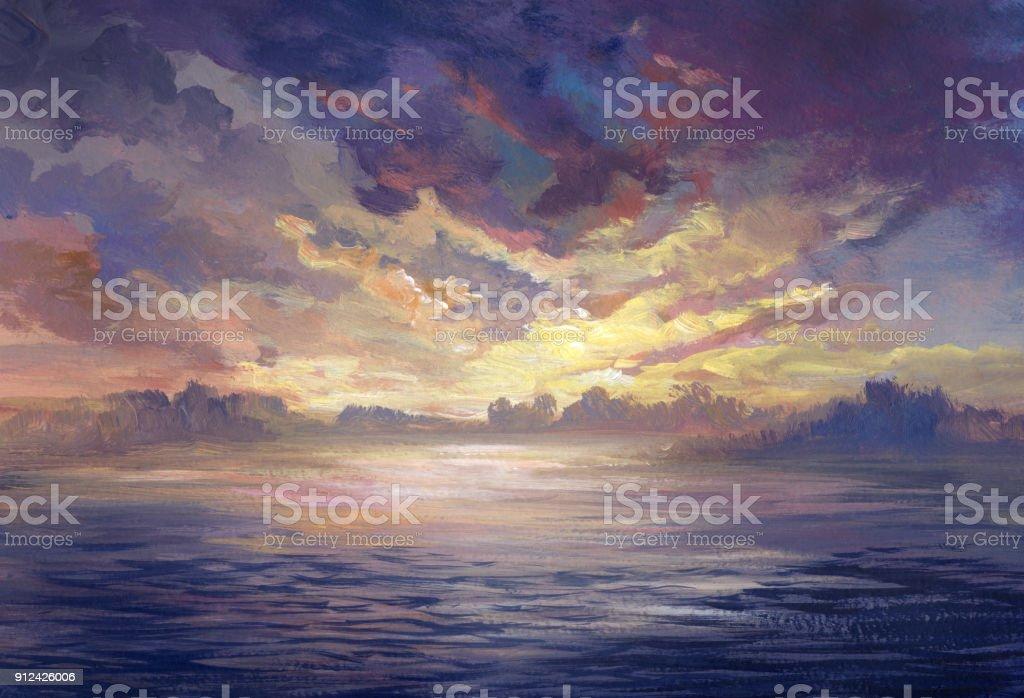 sunset near the water, acrylic painting vector art illustration