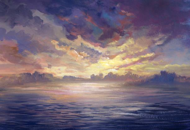 sunset near the water, acrylic painting sunset near the water, acrylic painting impressionism stock illustrations