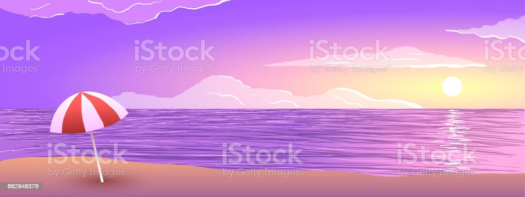 Sunset on ocean beach, sand and umbrella in vector. royalty-free sunset on ocean beach sand and umbrella in vector stock vector art & more images of backgrounds