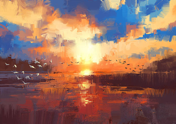 sunset on the lake,illustration - acrylic painting stock illustrations