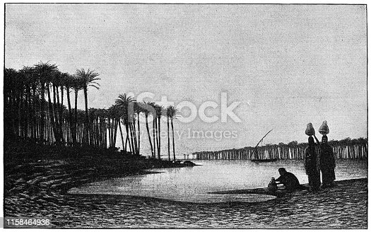 Sunset on the Nile by Charles-Theodore Frere (circa 19th century). Vintage etching circa late 19th century.