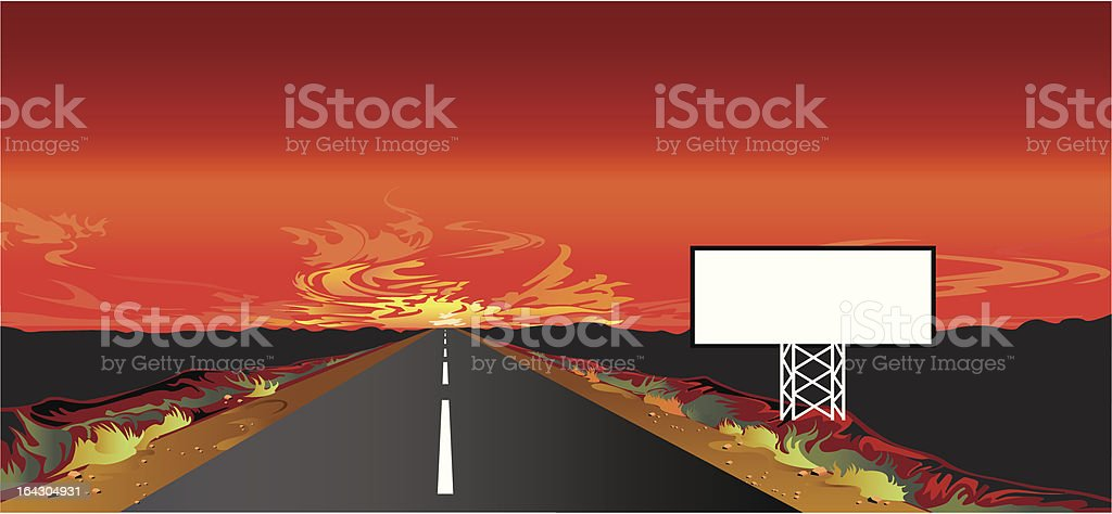 Sunset on the road royalty-free stock vector art