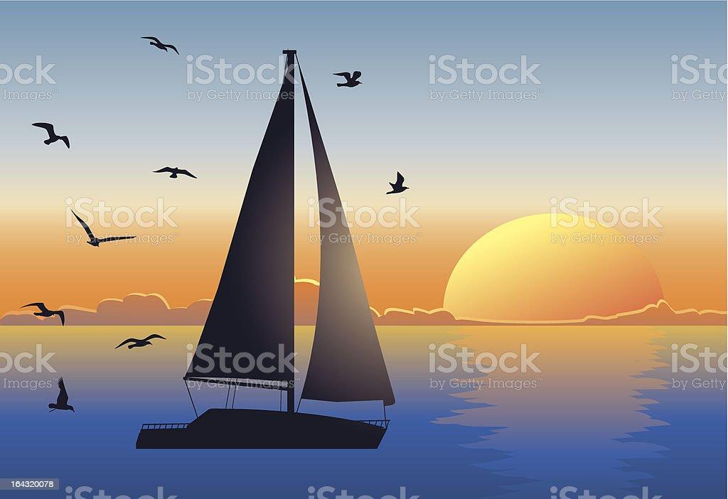Sunset seascape with sailboat vector art illustration