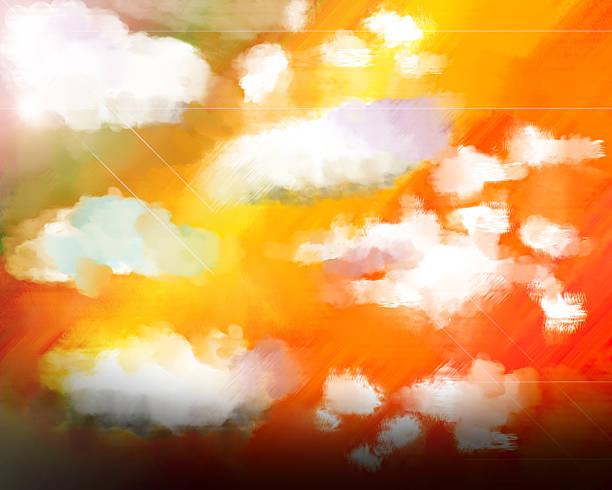 stockillustraties, clipart, cartoons en iconen met sunset sunrise with clouds oil - hdri landscape