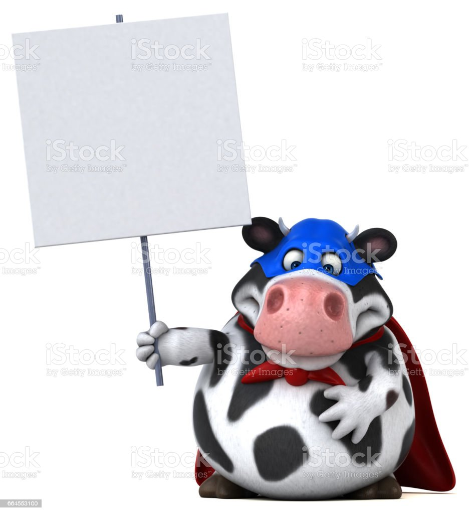 Super cow - 3D Illustration royalty-free super cow 3d illustration stock vector art & more images of agriculture