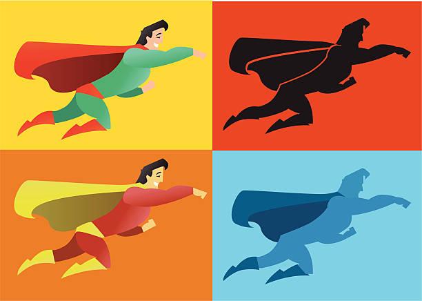 Super herói silhuetas - ilustração de arte em vetor