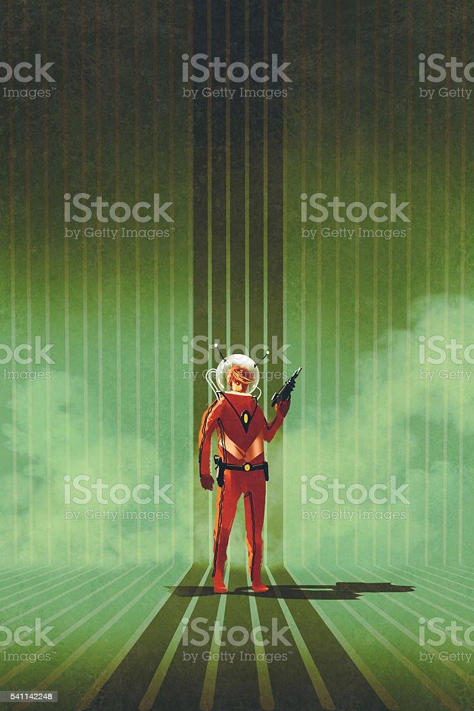 super Héros debout sur fond vert - Illustration vectorielle