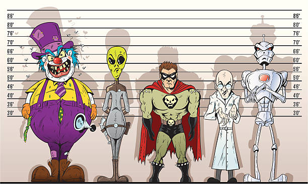 stockillustraties, clipart, cartoons en iconen met super villain lineup - confrontatie