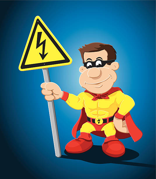 "Superhero Cartoon Man High Voltage Warning Sign ""Vector Illustration of a cartoon superhero, who is holding a yellow warning sign with a lightning. The background is on a separate layer, so you can use the illustration on your own background. The colors in the .eps-file are ready for print (CMYK). Included files: EPS (v8) and Hi-Res JPG."" cartoon people sign stock illustrations"