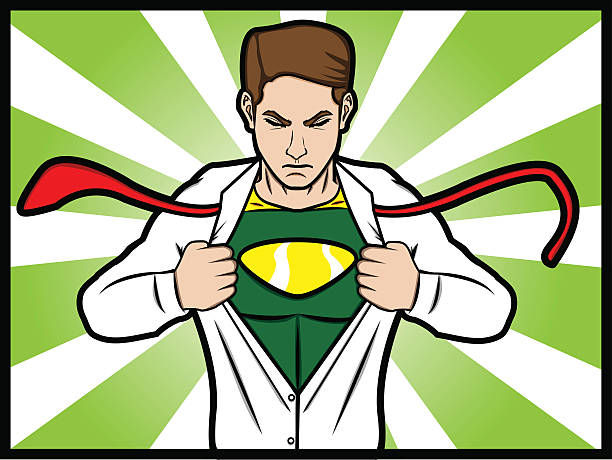 Superhero Transformation A cartoon comic style of a man torn his shirt and transformed into a superhero chest torso stock illustrations