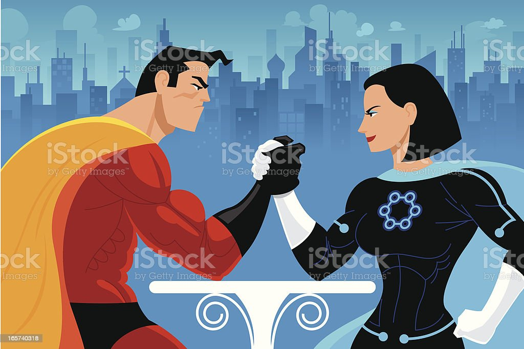 Superheros Arm Wrestling royalty-free stock vector art