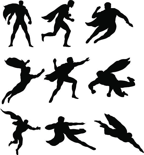bildbanksillustrationer, clip art samt tecknat material och ikoner med superheros save the day - superhjälte isolated