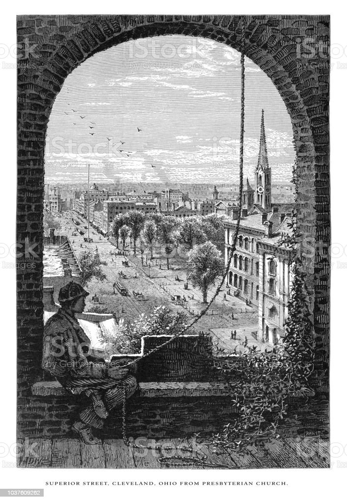 Superior Street in Cleveland from Presbyterian Church, Cleveland, Ohio, United States, American Victorian Engraving, 1872 vector art illustration