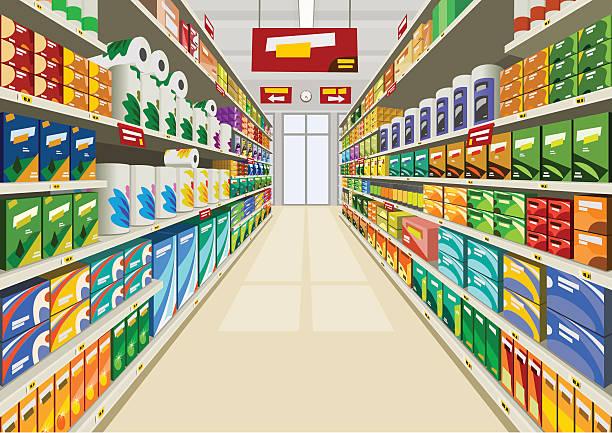 illustrazioni stock, clip art, cartoni animati e icone di tendenza di supermercato - prodotti supermercato
