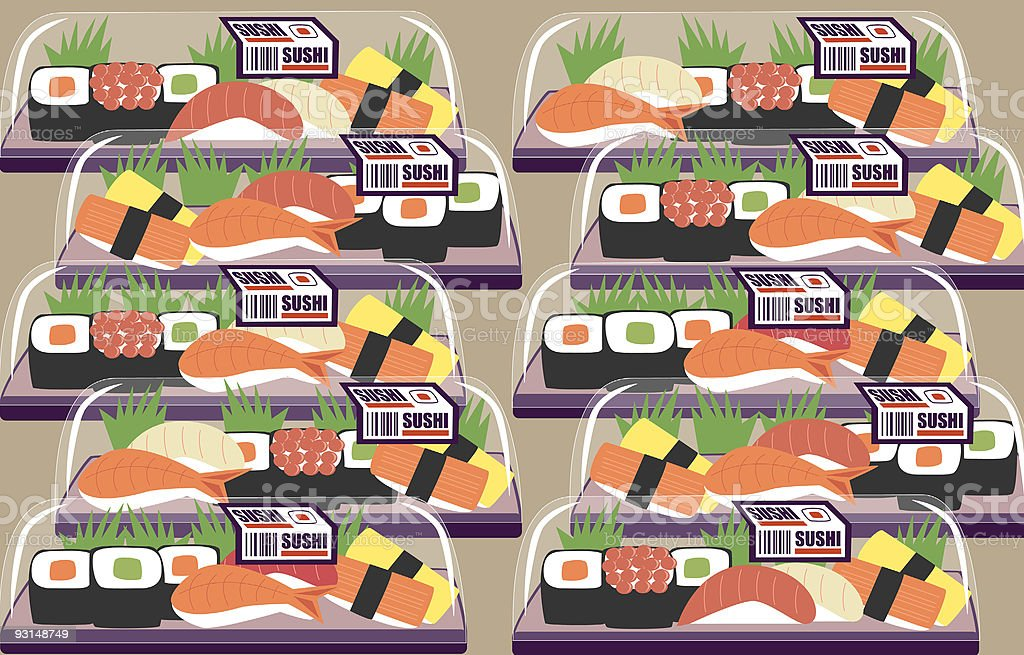 Supermarket Sushi royalty-free supermarket sushi stock vector art & more images of cold temperature