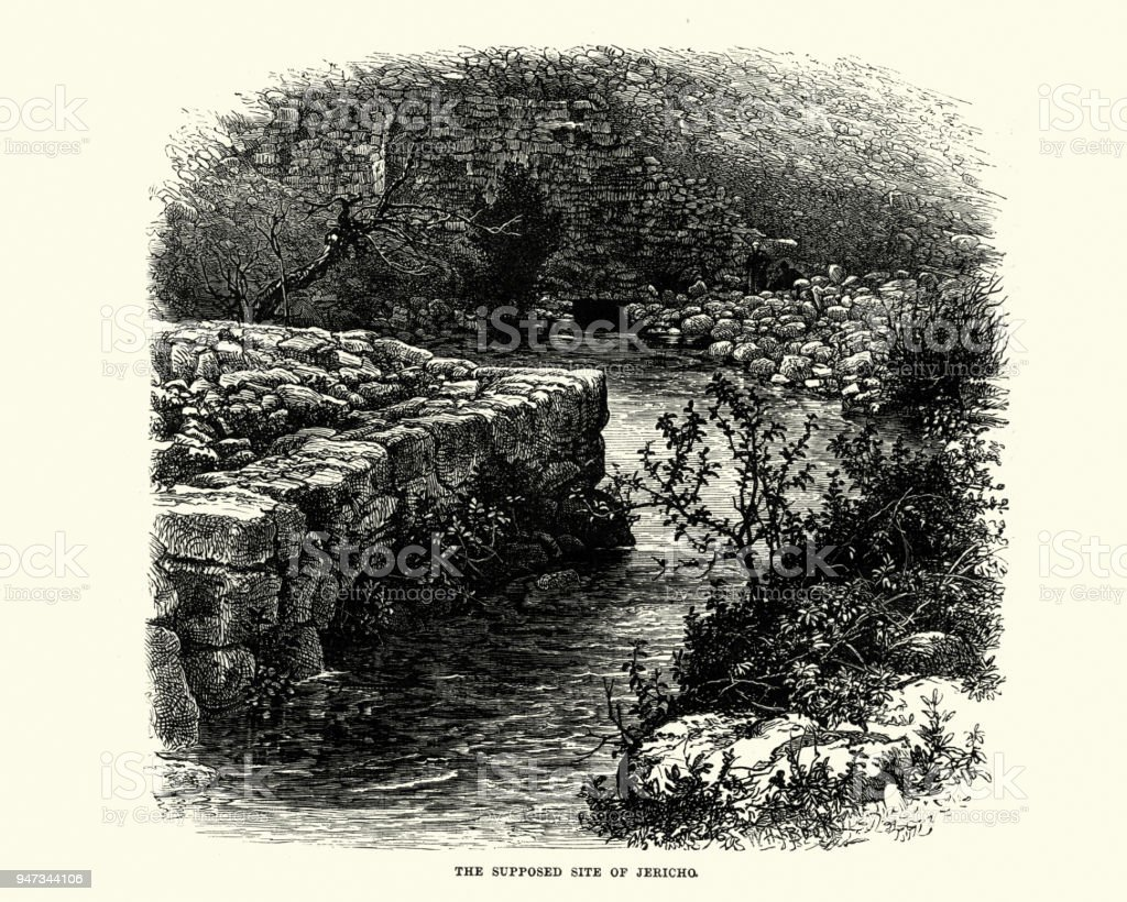 Supposed site of Jericho, 19th Century vector art illustration