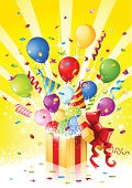 """""""Suprise gift in gift box. Yellow light background with ribbons, balloons, confetti and a pair of party hat. Ideal for Birthday, Party, Christmas or other event celebration background. Multi layered, global colors used."""""""