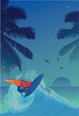Surfer in the sunset vector illustration