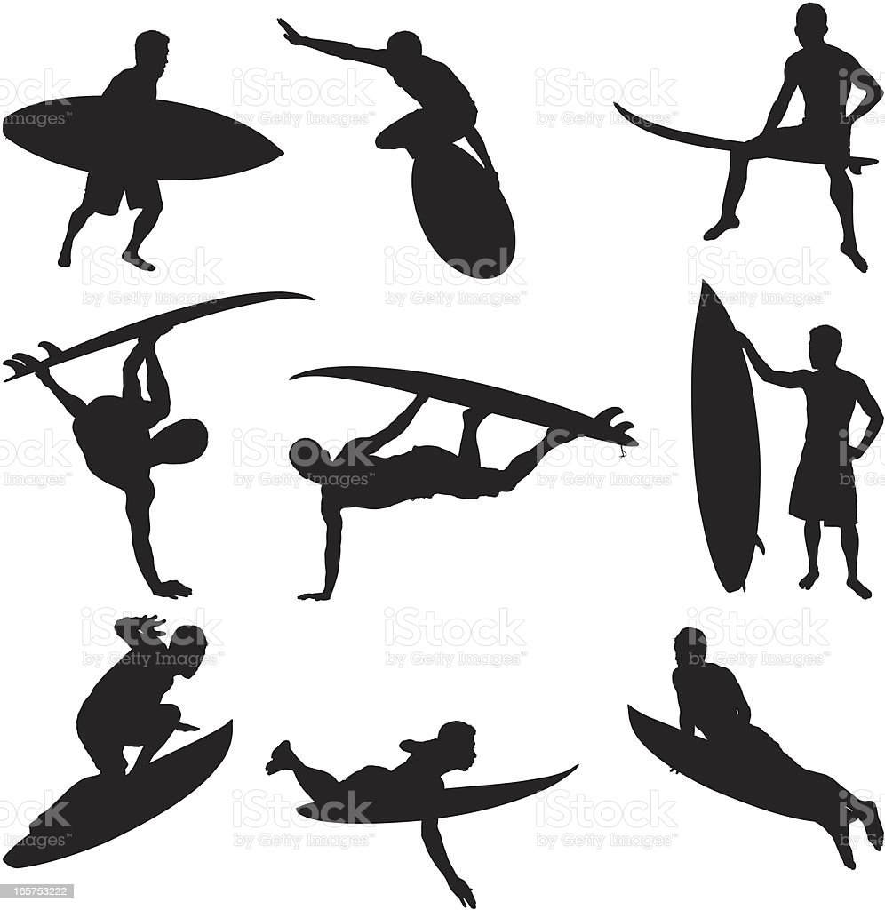 Surfer shredding it up on his surfboard royalty-free stock vector art