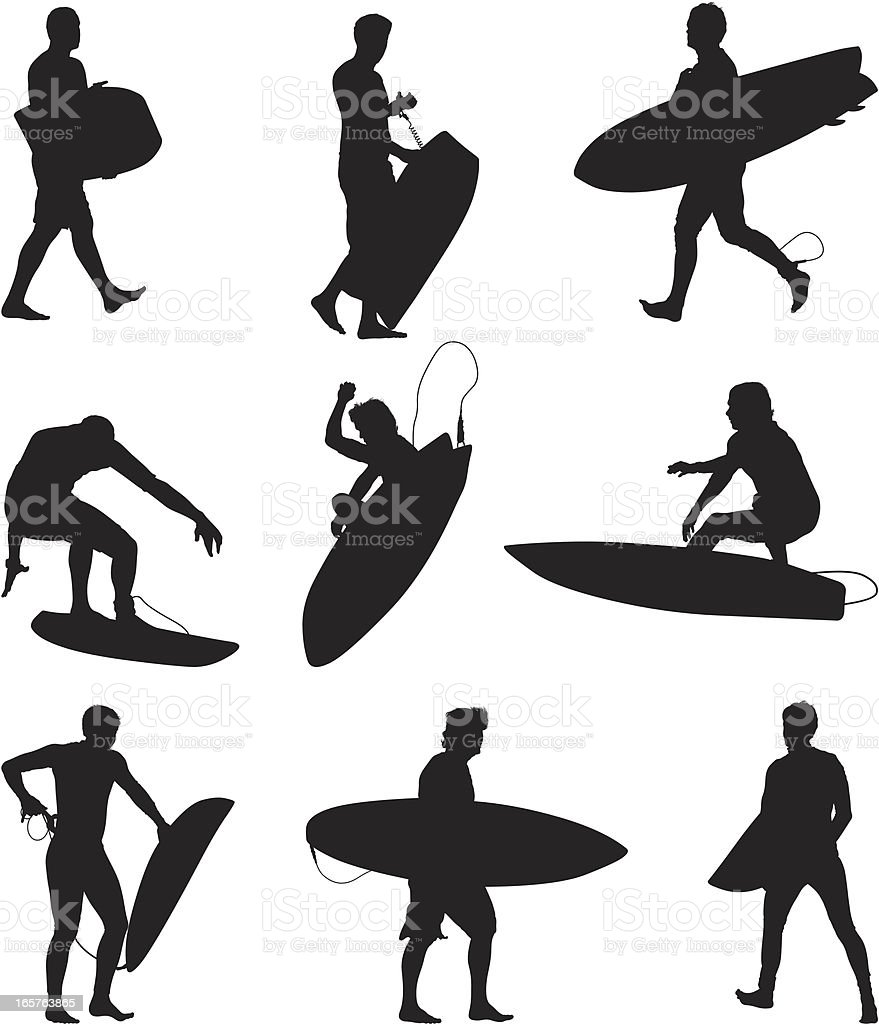 Surfers and boogie boarders vector art illustration