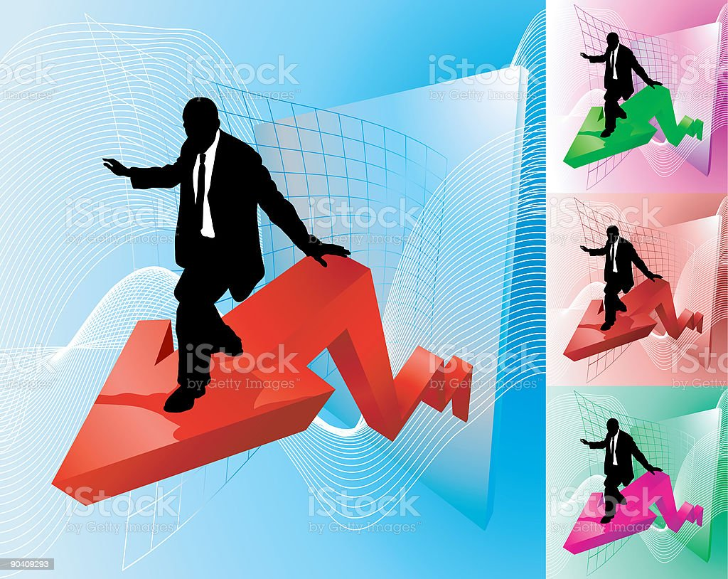 Surfing the profit line royalty-free stock vector art