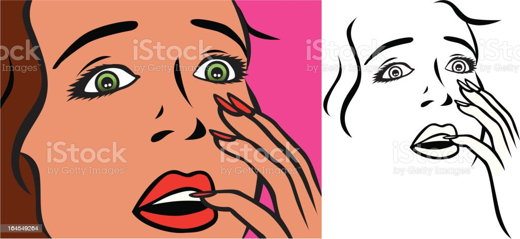 Surprise face retro vector art illustration