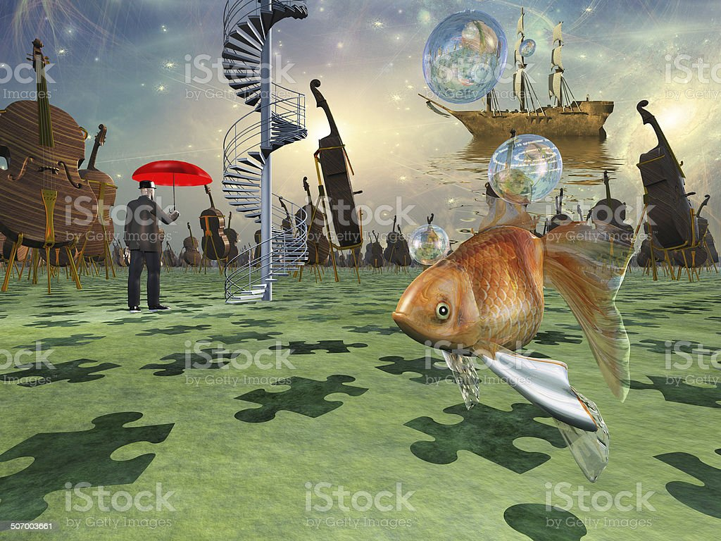 Surreal scene with various elements vector art illustration