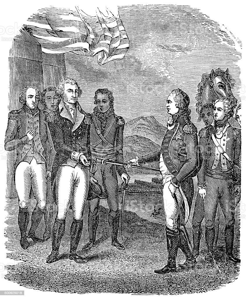 Surrender of Cornwallis during the American Revolutionary War vector art illustration