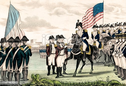 Vintage illustration features the surrender of Lord Charles Cornwallis and the British army at Yorktown, Virginia, in 1781, which ended the last major campaign of the American Revolutionary War.