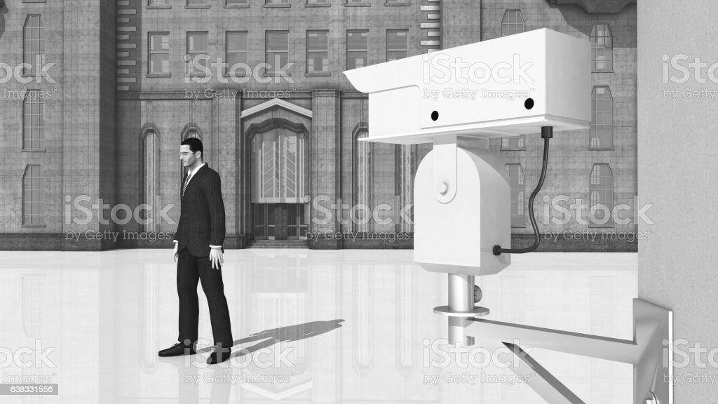 Surveillance camera and passing man vector art illustration