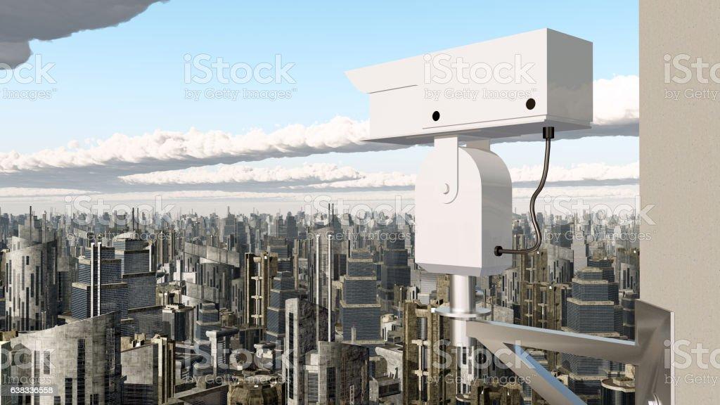 Surveillance camera over a city vector art illustration