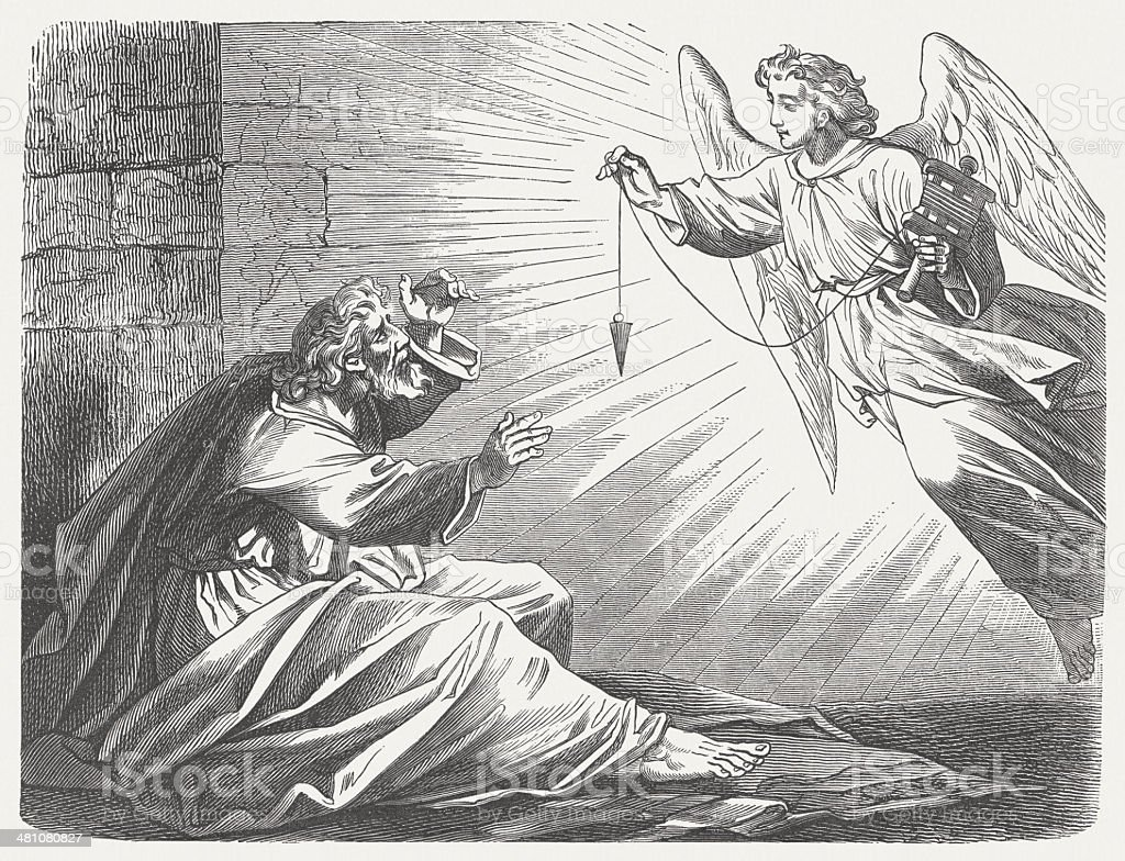 Surveyor (Zechariah 2, 1-5), wood engraving, published in 1877 vector art illustration
