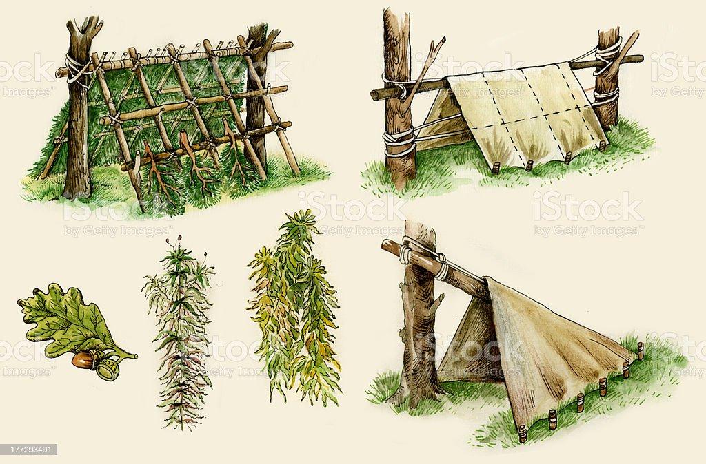 Abrigos de sobrevivência - ilustração de arte em vetor