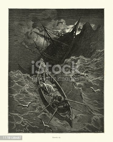 Vintage illustration from the story Orlando Furioso. Survivors of a shipwreck escaping in a lifeboat. Orlando Furioso (The Frenzy of Orlando) an Italian epic poem by Ludovico Ariosto, illustrated by Gustave Dore. The story is also a chivalric romance which stemmed from a tradition beginning in the late Middle Ages.