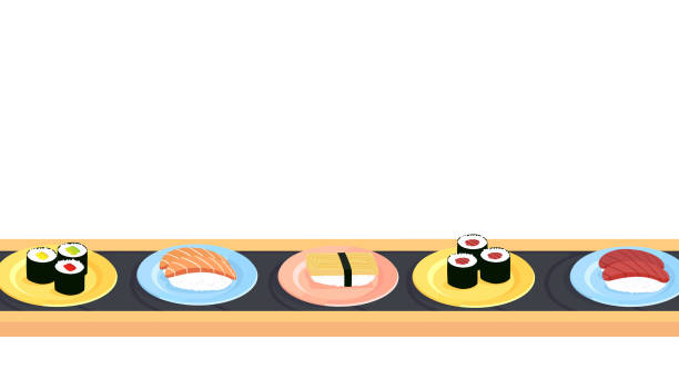 Sushi conveyer belt with a variety of different sushi vector art illustration