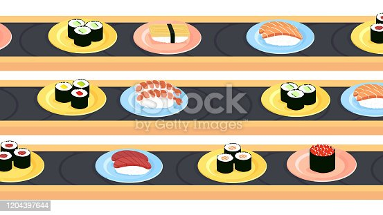 Three sushi conveyer belts with a variety of different sushi dishes, like maki and nigiri. Perfectly usable for all food related subjects.