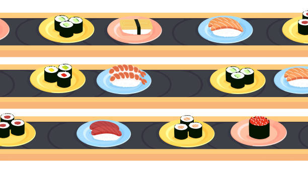 Sushi conveyer belts with a variety of different sushi vector art illustration